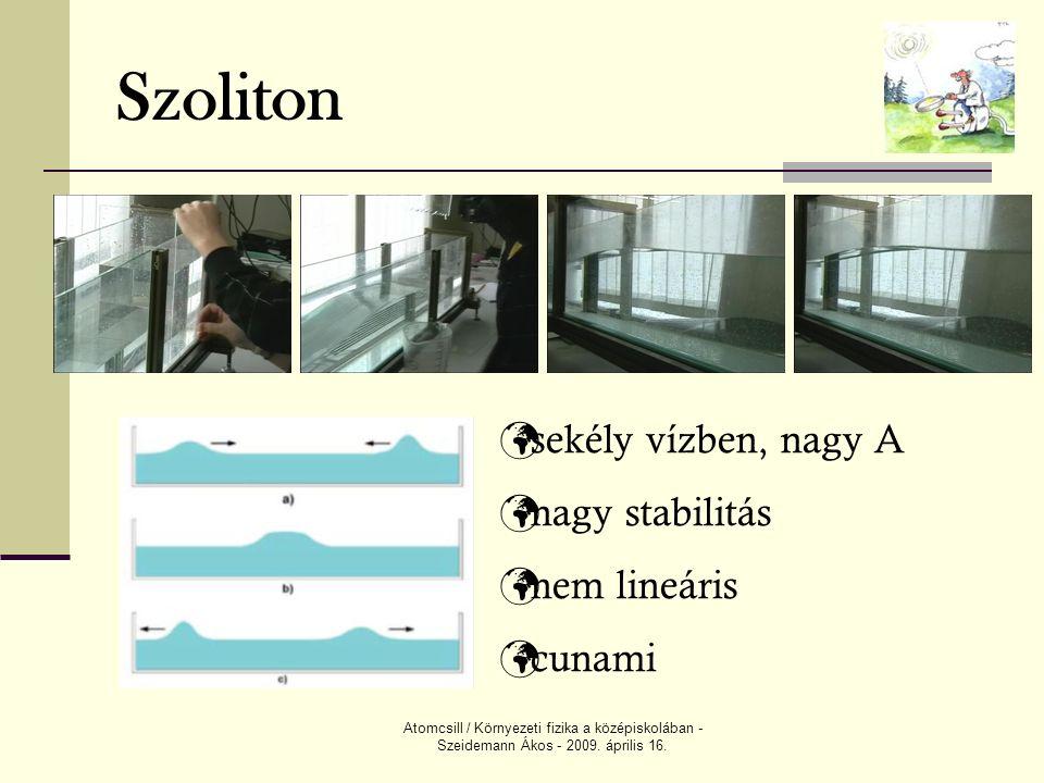 Atomcsill / Környezeti fizika a középiskolában - Szeidemann Ákos - 2009. április 16. Szoliton sekély vízben, nagy A nagy stabilitás nem lineáris cunam