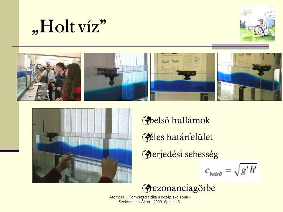 """Atomcsill / Környezeti fizika a középiskolában - Szeidemann Ákos - 2009. április 16. """"Holt víz"""" bels ő hullámok éles határfelület terjedési sebesség r"""