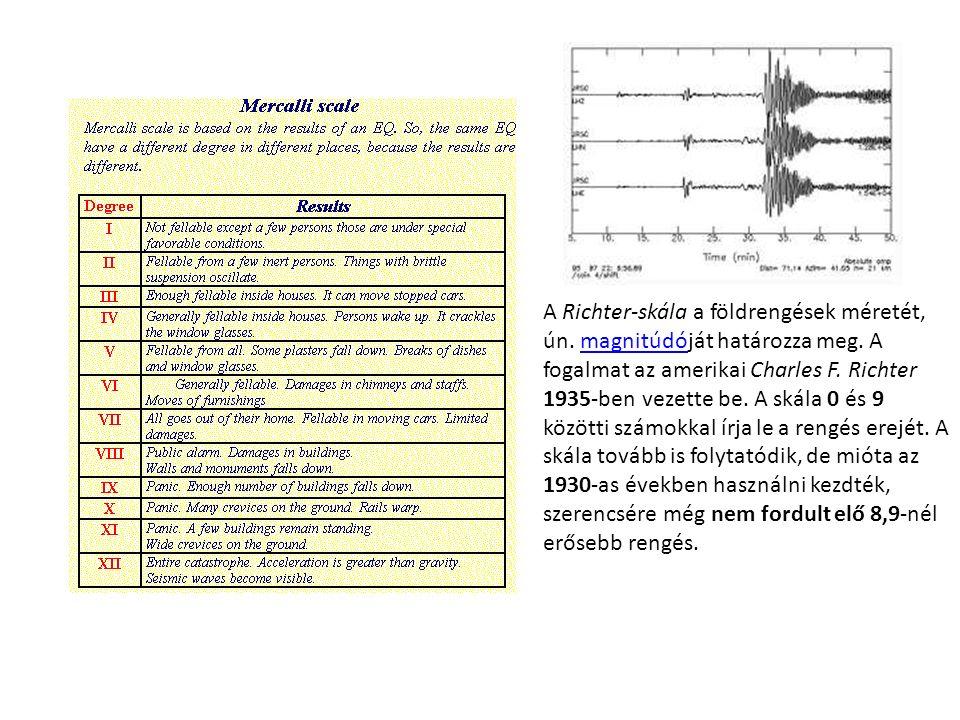 A Richter-skála a földrengések méretét, ún. magnitúdóját határozza meg.