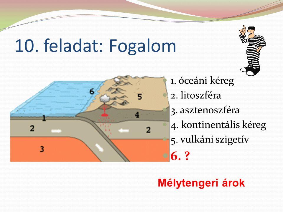 10. feladat: Fogalom 1. óceáni kéreg 2. litoszféra 3.