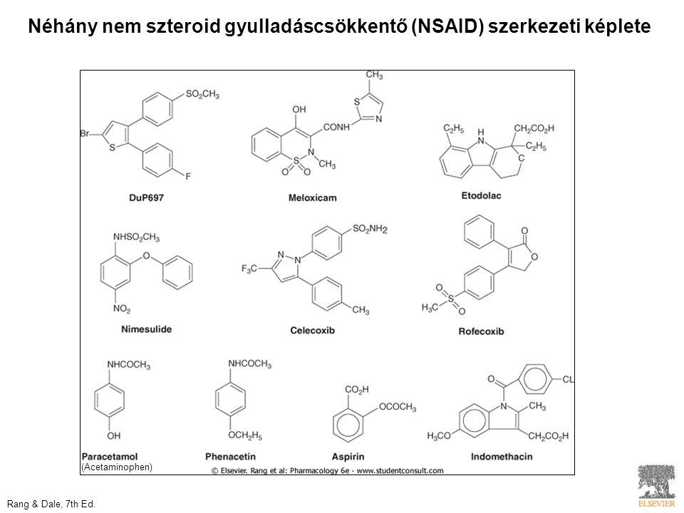 Néhány nem szteroid gyulladáscsökkentő (NSAID) szerkezeti képlete Rang & Dale, 7th Ed.
