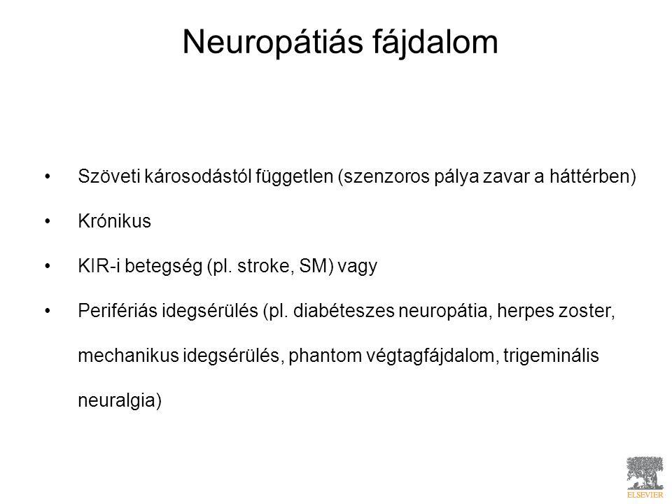 Neuropátiás fájdalom Szöveti károsodástól független (szenzoros pálya zavar a háttérben) Krónikus KIR-i betegség (pl. stroke, SM) vagy Perifériás idegs