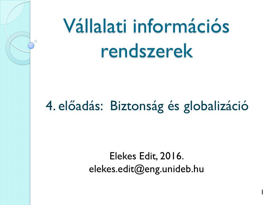 1 Vállalati információs rendszerek 4. előadás: Biztonság és globalizáció Elekes Edit, 2016. elekes.edit@eng.unideb.hu
