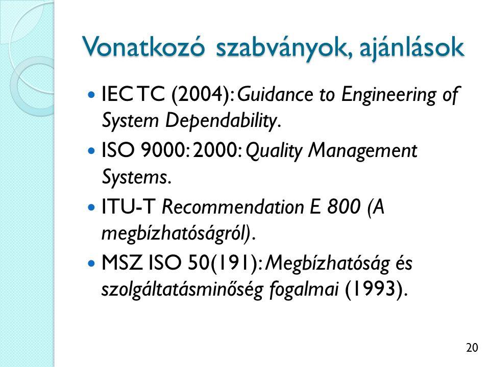 20 Vonatkozó szabványok, ajánlások IEC TC (2004): Guidance to Engineering of System Dependability. ISO 9000: 2000: Quality Management Systems. ITU-T R