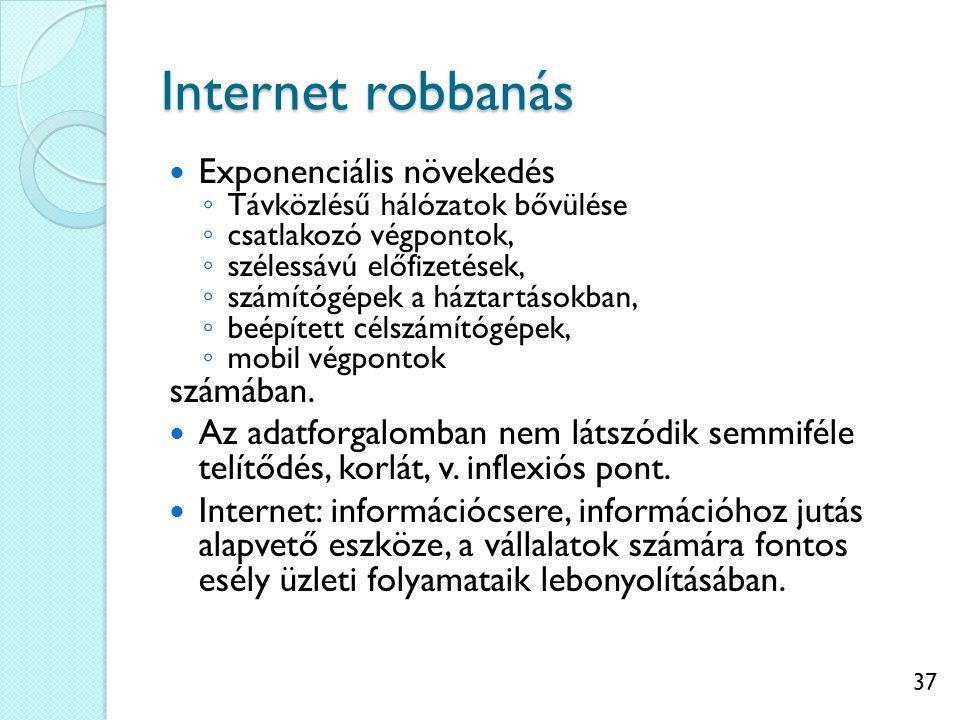 37 Internet robbanás Exponenciális növekedés ◦ Távközlésű hálózatok bővülése ◦ csatlakozó végpontok, ◦ szélessávú előfizetések, ◦ számítógépek a háztartásokban, ◦ beépített célszámítógépek, ◦ mobil végpontok számában.