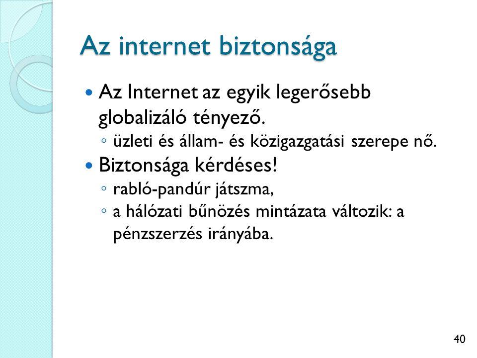 40 Az internet biztonsága Az Internet az egyik legerősebb globalizáló tényező. ◦ üzleti és állam- és közigazgatási szerepe nő. Biztonsága kérdéses! ◦