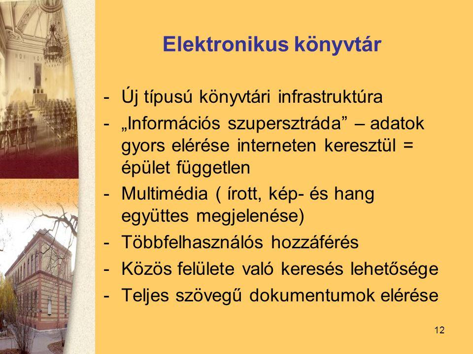 """12 Elektronikus könyvtár -Új típusú könyvtári infrastruktúra -""""Információs szupersztráda – adatok gyors elérése interneten keresztül = épület független -Multimédia ( írott, kép- és hang együttes megjelenése) -Többfelhasználós hozzáférés -Közös felülete való keresés lehetősége -Teljes szövegű dokumentumok elérése"""