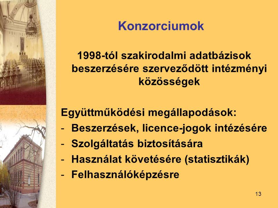 13 Konzorciumok 1998-tól szakirodalmi adatbázisok beszerzésére szerveződött intézményi közösségek Együttműködési megállapodások: -Beszerzések, licence-jogok intézésére -Szolgáltatás biztosítására -Használat követésére (statisztikák) -Felhasználóképzésre