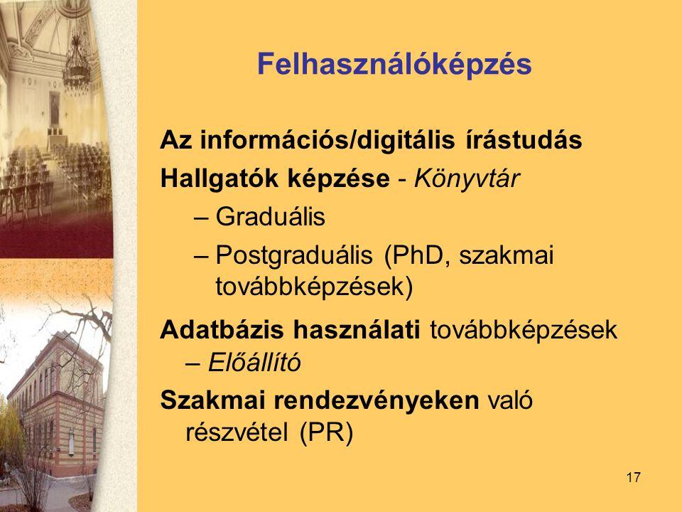 17 Felhasználóképzés Az információs/digitális írástudás Hallgatók képzése - Könyvtár –Graduális –Postgraduális (PhD, szakmai továbbképzések) Adatbázis használati továbbképzések – Előállító Szakmai rendezvényeken való részvétel (PR)
