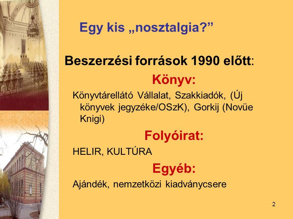 """2 Egy kis """"nosztalgia? Beszerzési források 1990 előtt: Könyv: Könyvtárellátó Vállalat, Szakkiadók, (Új könyvek jegyzéke/OSzK), Gorkij (Novüe Knigi) Folyóirat: HELIR, KULTÚRA Egyéb: Ajándék, nemzetközi kiadványcsere"""