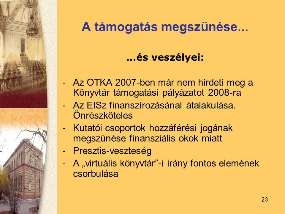 23 A támogatás megszünése … …és veszélyei: -Az OTKA 2007-ben már nem hirdeti meg a Könyvtár támogatási pályázatot 2008-ra -Az EISz finanszírozásánal átalakulása.