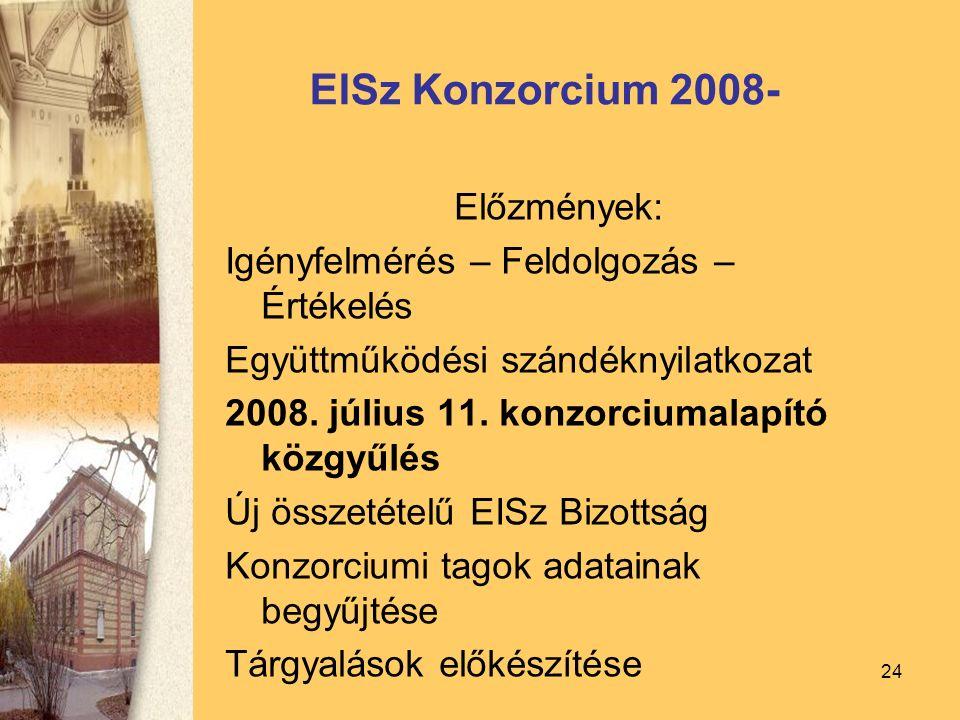 24 EISz Konzorcium 2008- Előzmények: Igényfelmérés – Feldolgozás – Értékelés Együttműködési szándéknyilatkozat 2008.
