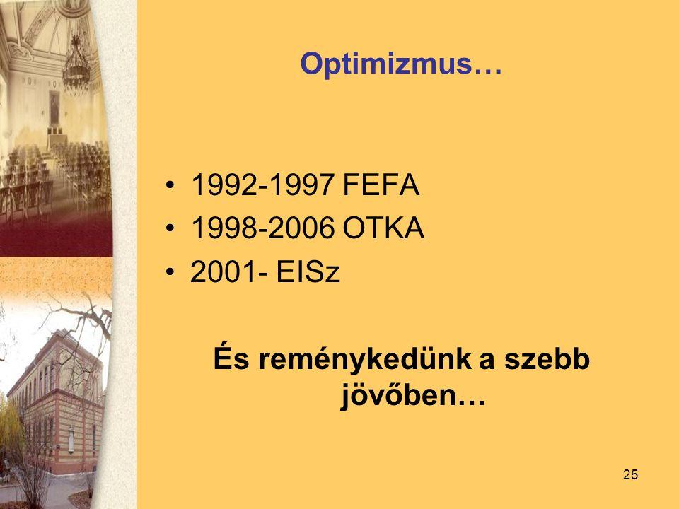 25 Optimizmus… 1992-1997 FEFA 1998-2006 OTKA 2001- EISz És reménykedünk a szebb jövőben…