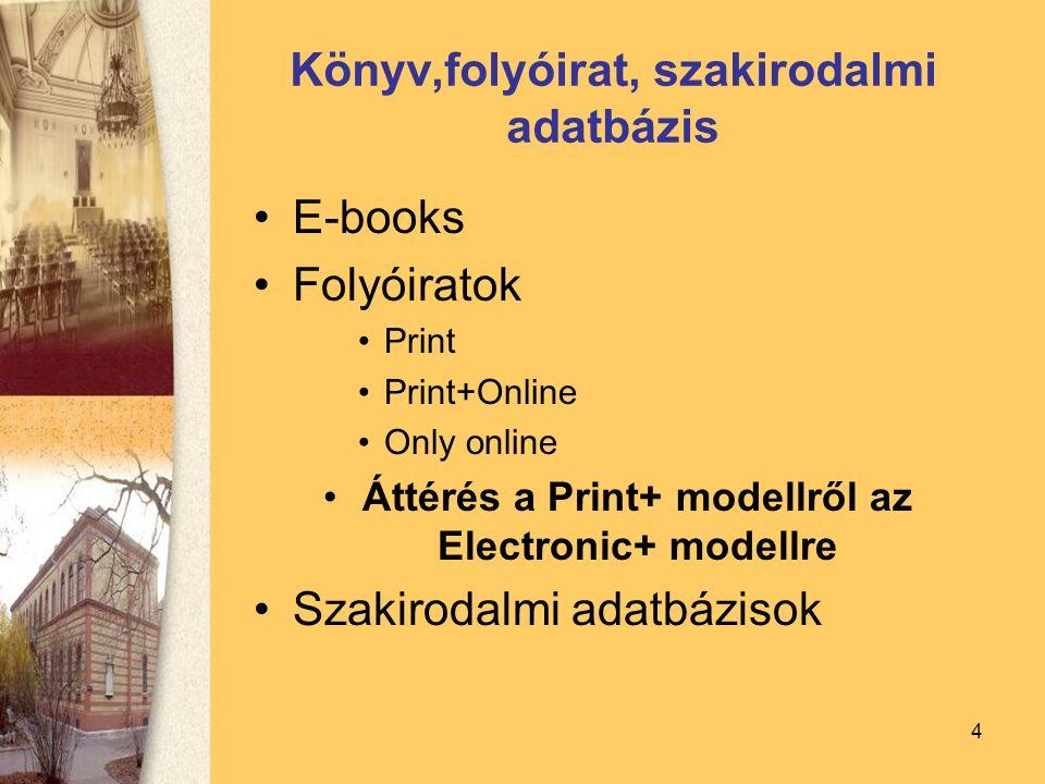 4 Könyv,folyóirat, szakirodalmi adatbázis E-books Folyóiratok Print Print+Online Only online Áttérés a Print+ modellről az Electronic+ modellre Szakirodalmi adatbázisok