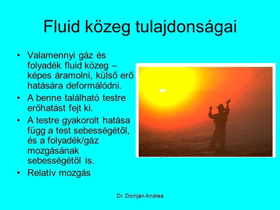 Fluid közeg tulajdonságai Relatív sebesség - a test sebessége, a fluid közeg sebességének szempontjából Dr.