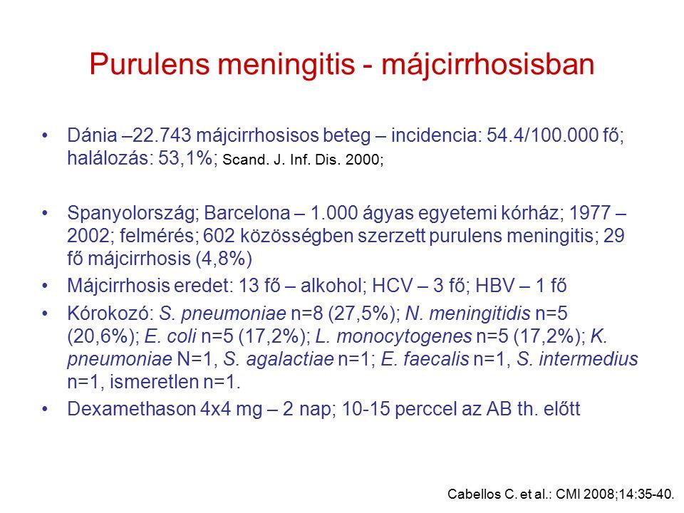 Purulens meningitis - májcirrhosisban Dánia –22.743 májcirrhosisos beteg – incidencia: 54.4/100.000 fő; halálozás: 53,1%; Scand.