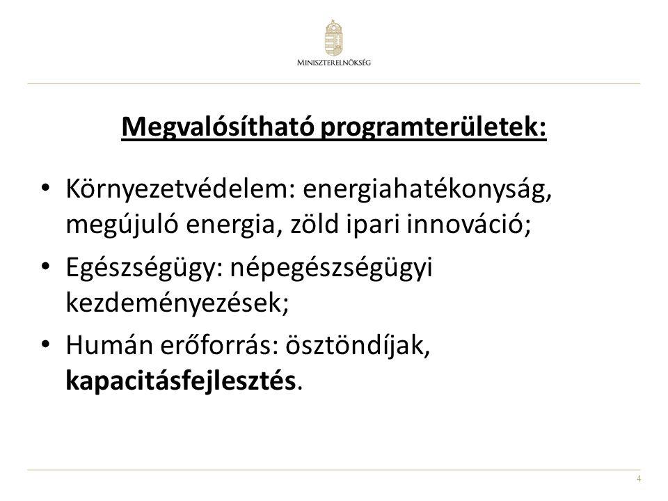 4 Megvalósítható programterületek: Környezetvédelem: energiahatékonyság, megújuló energia, zöld ipari innováció; Egészségügy: népegészségügyi kezdeményezések; Humán erőforrás: ösztöndíjak, kapacitásfejlesztés.