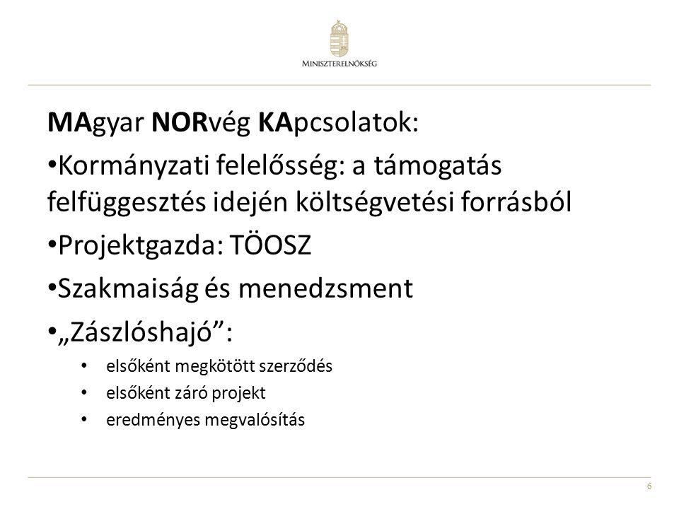 """6 MAgyar NORvég KApcsolatok: Kormányzati felelősség: a támogatás felfüggesztés idején költségvetési forrásból Projektgazda: TÖOSZ Szakmaiság és menedzsment """"Zászlóshajó : elsőként megkötött szerződés elsőként záró projekt eredményes megvalósítás"""