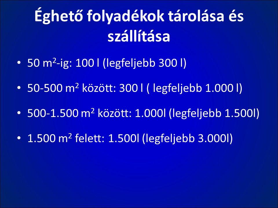 Éghető folyadékok tárolása és szállítása 50 m 2 -ig: 100 l (legfeljebb 300 l) 50-500 m 2 között: 300 l ( legfeljebb 1.000 l) 500-1.500 m 2 között: 1.0
