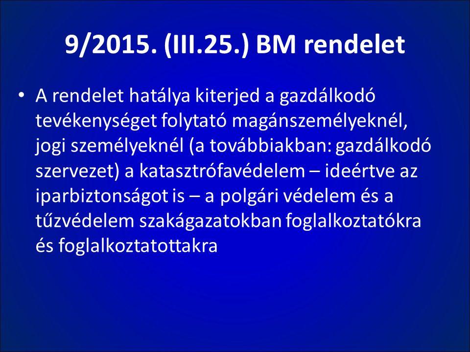 9/2015. (III.25.) BM rendelet A rendelet hatálya kiterjed a gazdálkodó tevékenységet folytató magánszemélyeknél, jogi személyeknél (a továbbiakban: ga