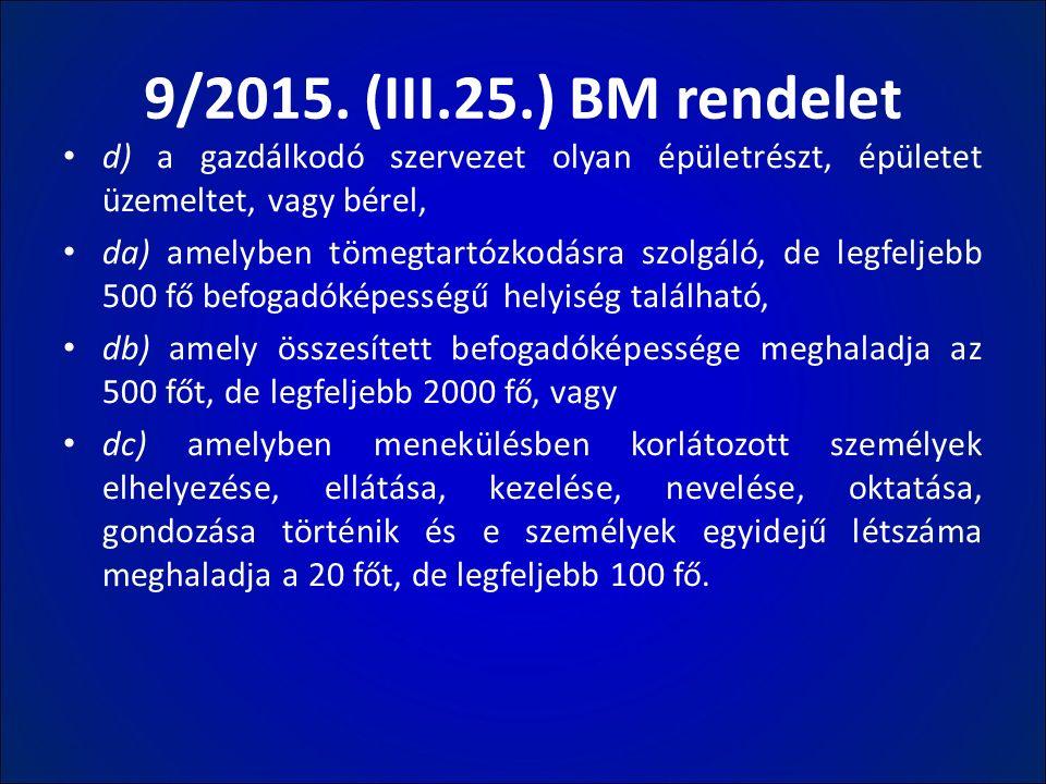 9/2015. (III.25.) BM rendelet d) a gazdálkodó szervezet olyan épületrészt, épületet üzemeltet, vagy bérel, da) amelyben tömegtartózkodásra szolgáló, d