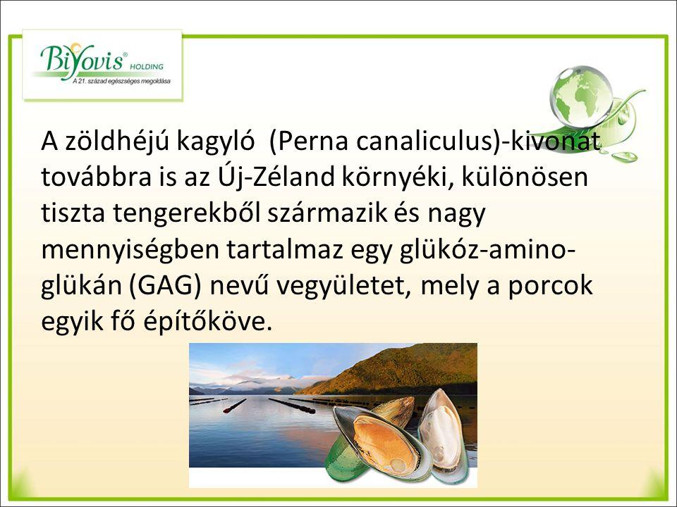 A zöldhéjú kagyló (Perna canaliculus)-kivonat továbbra is az Új-Zéland környéki, különösen tiszta tengerekből származik és nagy mennyiségben tartalmaz egy glükóz-amino- glükán (GAG) nevű vegyületet, mely a porcok egyik fő építőköve.