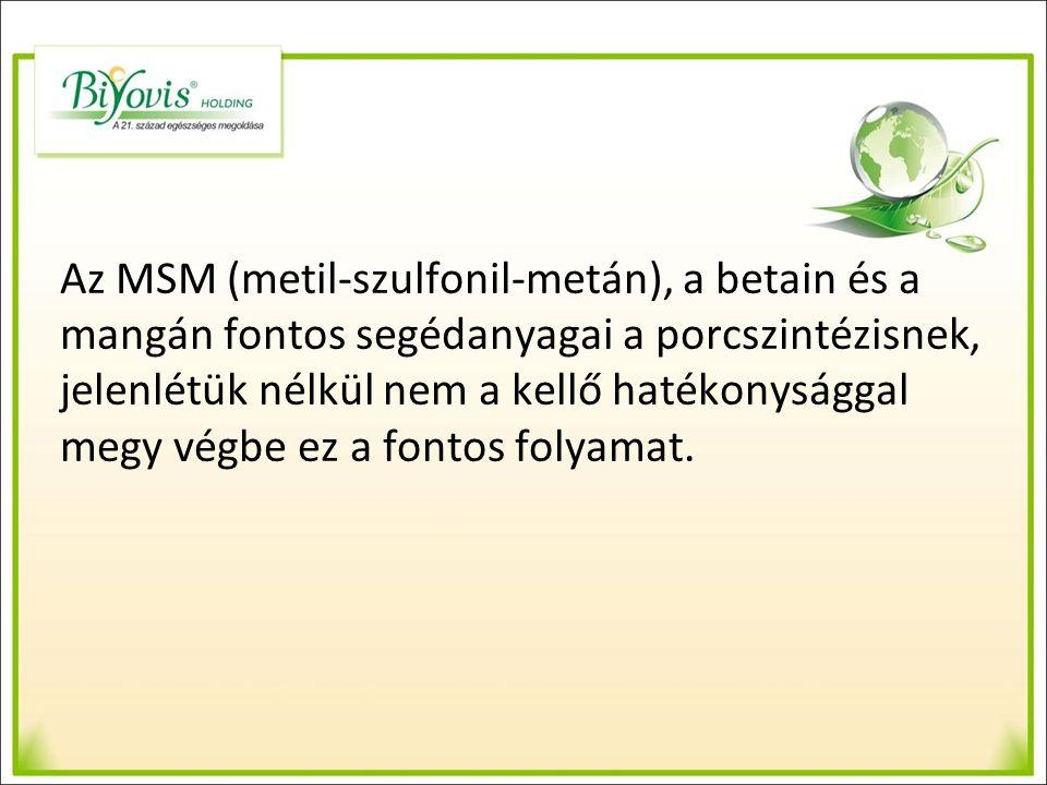 Az MSM (metil-szulfonil-metán), a betain és a mangán fontos segédanyagai a porcszintézisnek, jelenlétük nélkül nem a kellő hatékonysággal megy végbe ez a fontos folyamat.