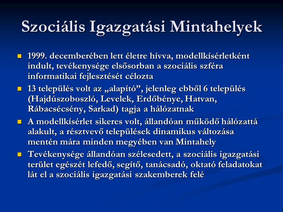 Szociális Igazgatási Mintahelyek 1999.