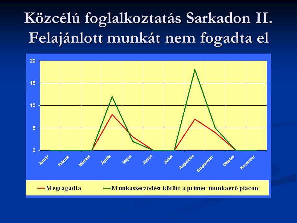 Közcélú foglalkoztatás Sarkadon III. Közcélú foglalkoztatás közben szerződés megszűnése