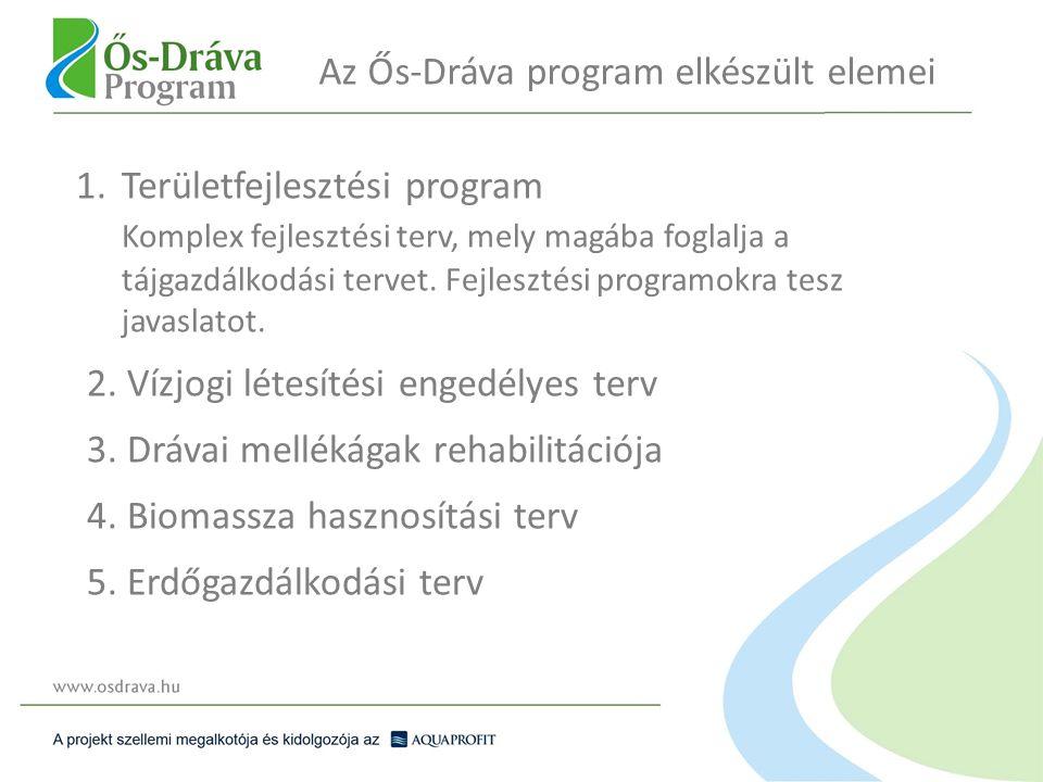 Az Ős-Dráva program elkészült elemei 1.Területfejlesztési program Komplex fejlesztési terv, mely magába foglalja a tájgazdálkodási tervet. Fejlesztési