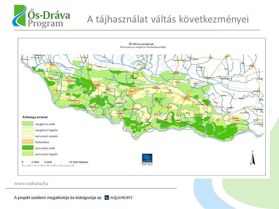 10 000 ha új erdő telepítése esetén a térség erdősültsége 40%-ra emelkedik Az erdőtelepítés 610 új munkahelyet teremt A térség fakészlete 10 év múlva 250 000 m 3 -rel nő Az erdők közjóléti értéke 280- 320 M Ft-tal nő A kedvező vízháztartás évi 180 M Ft növedék többletet eredményez, amely nemzeti vagyon gyarapodás Cél, hogy a természetközeli erdő- a korszerű vadgazdálkodással együtt a térség eredményes ágazatává váljék Erdőgazdálkodás