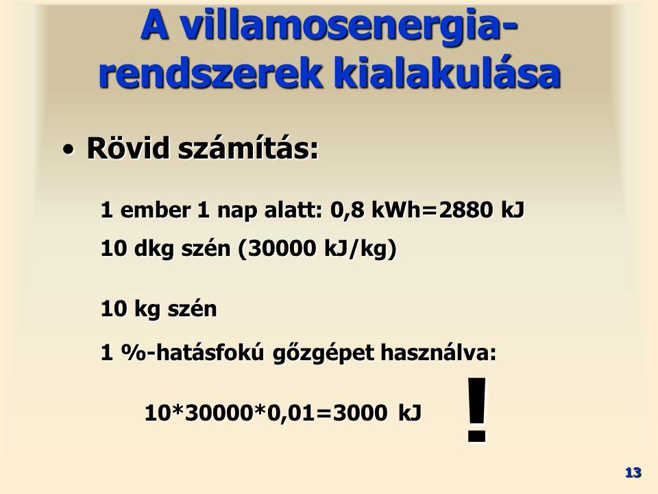 13 Rövid számítás:Rövid számítás: A villamosenergia- rendszerek kialakulása 1 ember 1 nap alatt: 0,8 kWh=2880 kJ 10 kg szén 1 %-hatásfokú gőzgépet használva: 10*30000*0,01=3000 kJ .