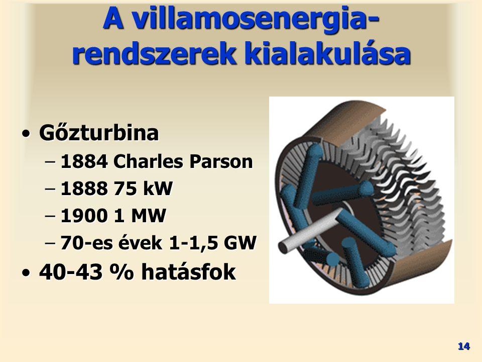 14 GőzturbinaGőzturbina –1884 Charles Parson –1888 75 kW –1900 1 MW –70-es évek 1-1,5 GW 40-43 % hatásfok40-43 % hatásfok A villamosenergia- rendszere