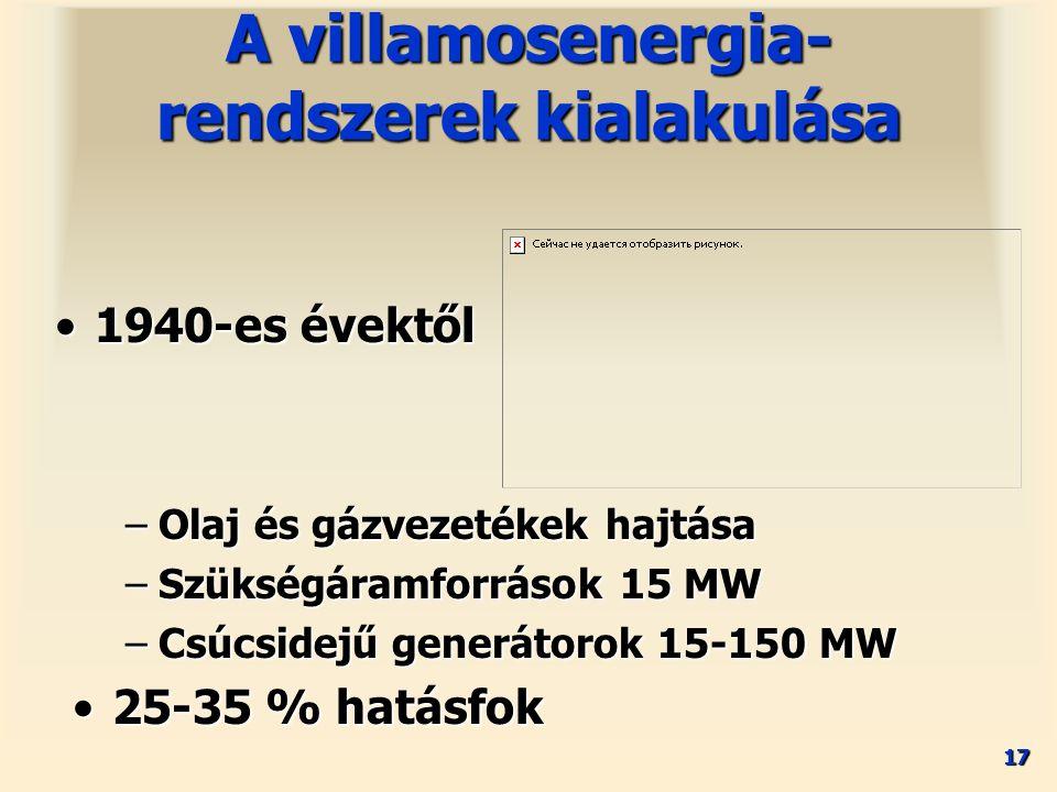 17 1940-es évektől1940-es évektől A villamosenergia- rendszerek kialakulása –Olaj és gázvezetékek hajtása –Szükségáramforrások 15 MW –Csúcsidejű gener