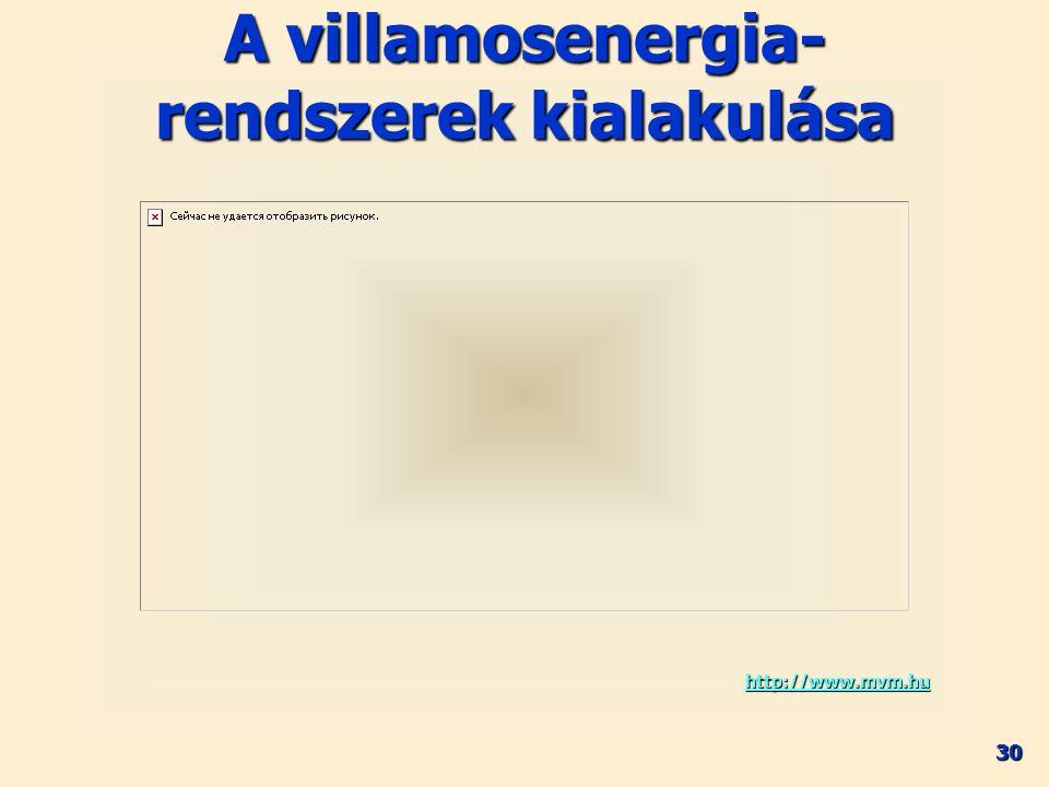 30 A villamosenergia- rendszerek kialakulása http://www.mvm.hu