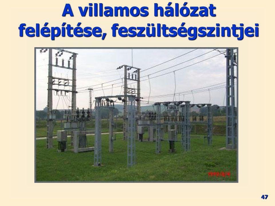 47 A villamos hálózat felépítése, feszültségszintjei
