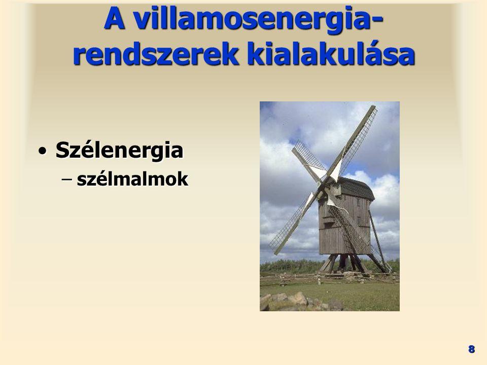 8 SzélenergiaSzélenergia –szélmalmok A villamosenergia- rendszerek kialakulása