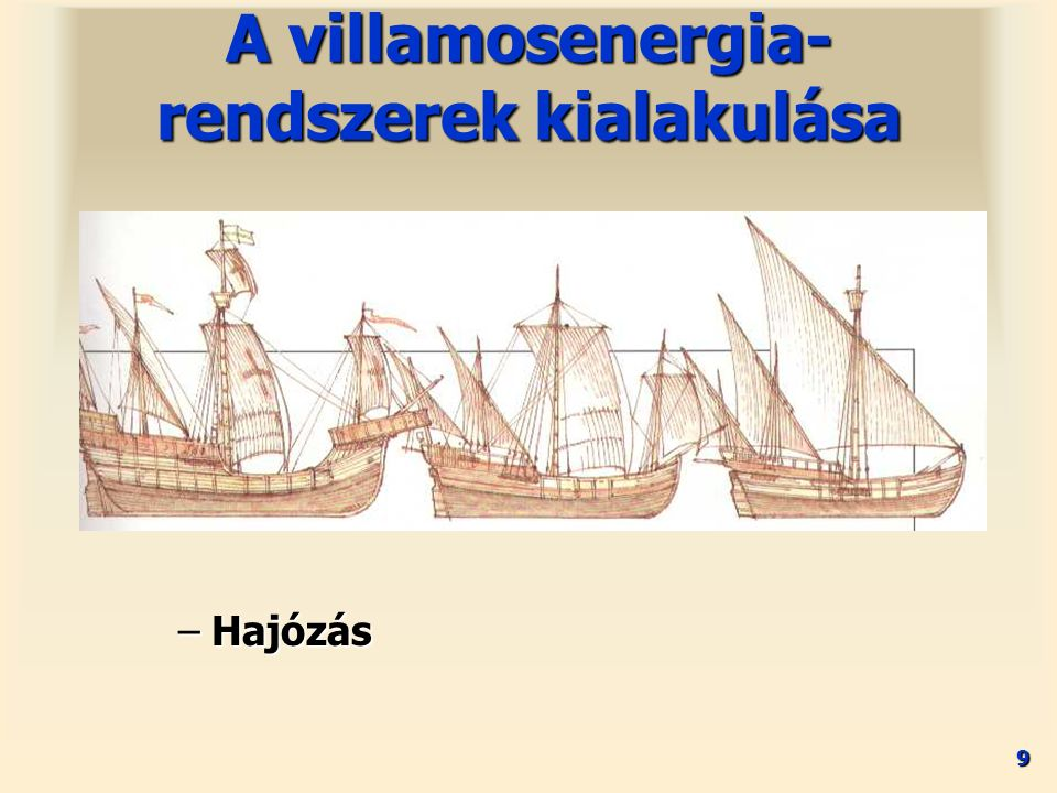 9 –Hajózás A villamosenergia- rendszerek kialakulása