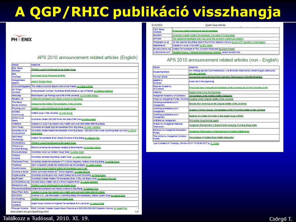 Találkozz a Tudóssal, 2010. XI. 19. Csörgő T. A QGP/RHIC publikáció visszhangja