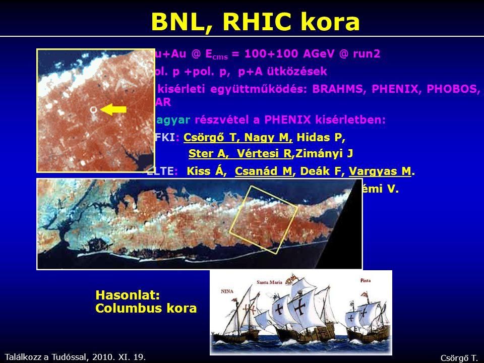 Találkozz a Tudóssal, 2010. XI. 19. Csörgő T. A RHIC gyorsító és a 4 RHIC kísérlet STAR