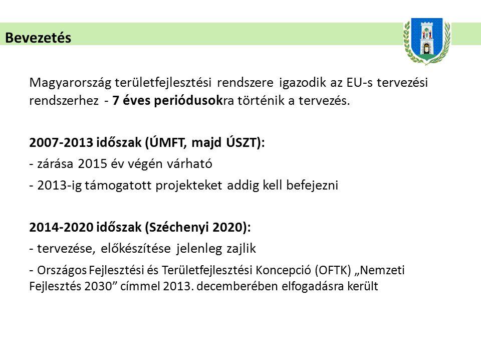 Bevezetés Magyarország területfejlesztési rendszere igazodik az EU-s tervezési rendszerhez - 7 éves periódusokra történik a tervezés. 2007-2013 idősza