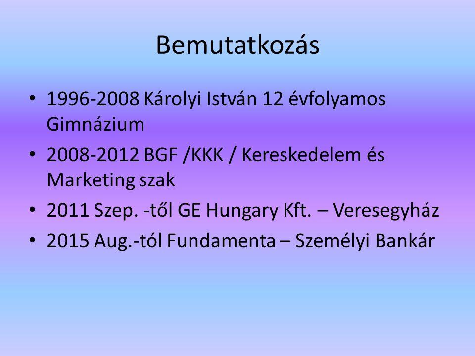 Bemutatkozás 1996-2008 Károlyi István 12 évfolyamos Gimnázium 2008-2012 BGF /KKK / Kereskedelem és Marketing szak 2011 Szep.