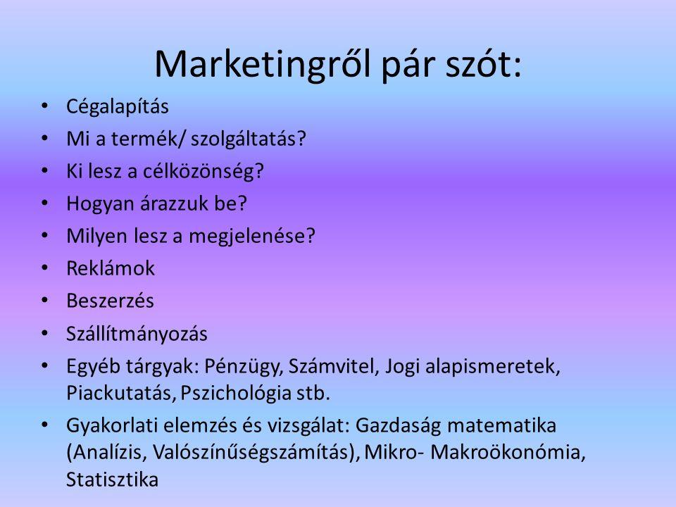Marketingről pár szót: Cégalapítás Mi a termék/ szolgáltatás.