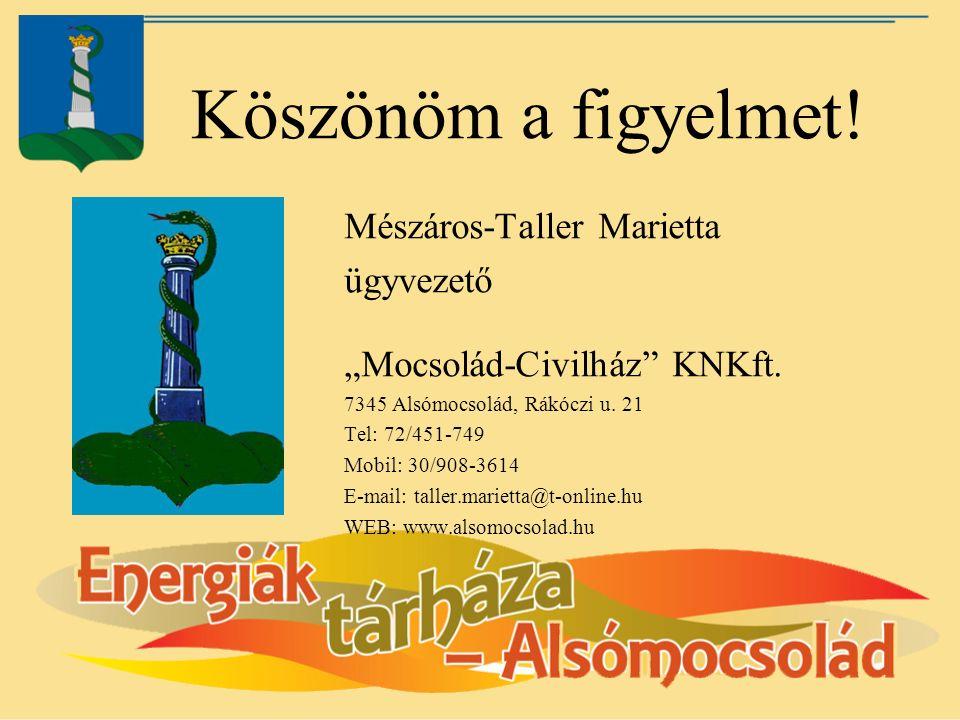 """Köszönöm a figyelmet. Mészáros-Taller Marietta ügyvezető """"Mocsolád-Civilház KNKft."""