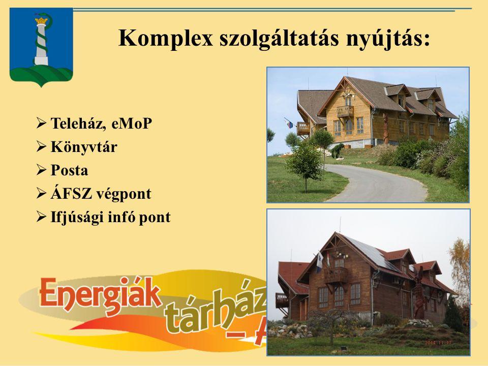 Komplex szolgáltatás nyújtás:  Teleház, eMoP  Könyvtár  Posta  ÁFSZ végpont  Ifjúsági infó pont