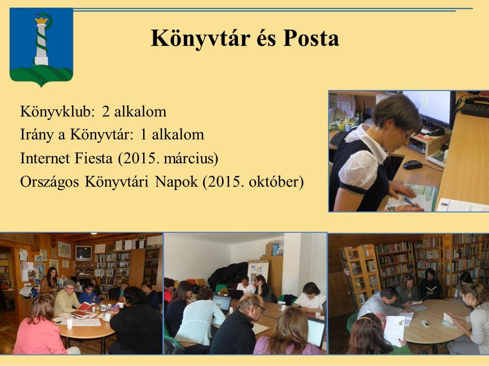 Könyvtár és Posta Könyvklub: 2 alkalom Irány a Könyvtár: 1 alkalom Internet Fiesta (2015.