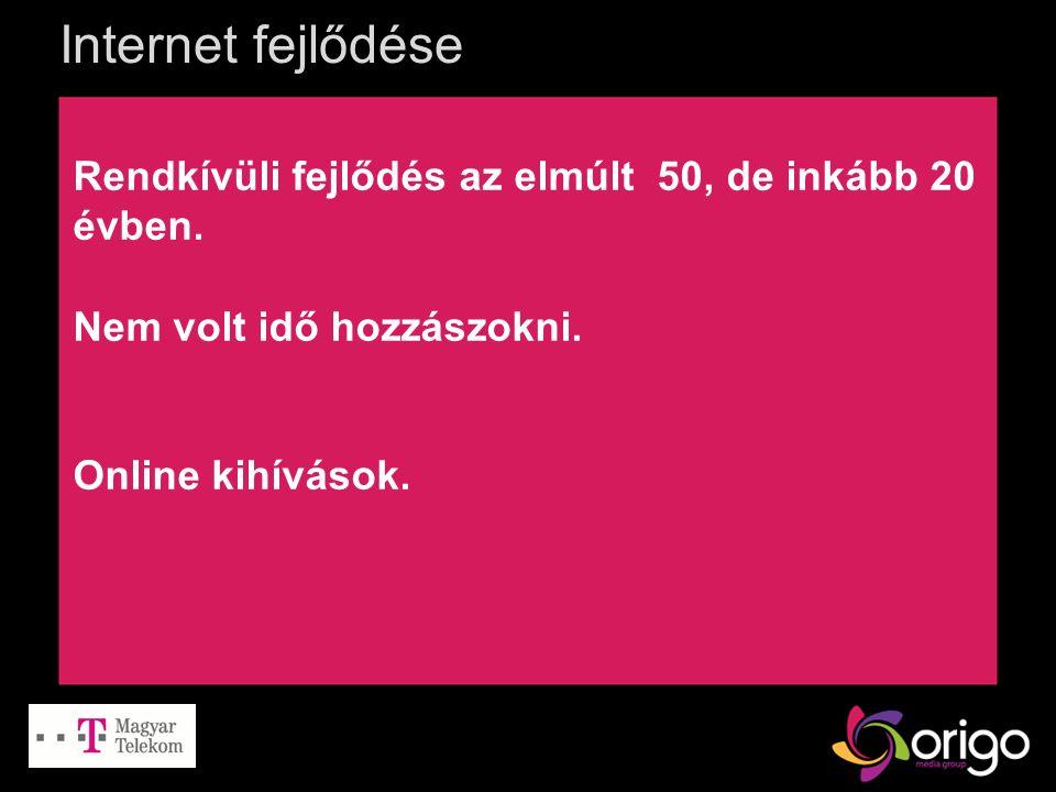 Internet fejlődése Rendkívüli fejlődés az elmúlt 50, de inkább 20 évben. Nem volt idő hozzászokni. Online kihívások.