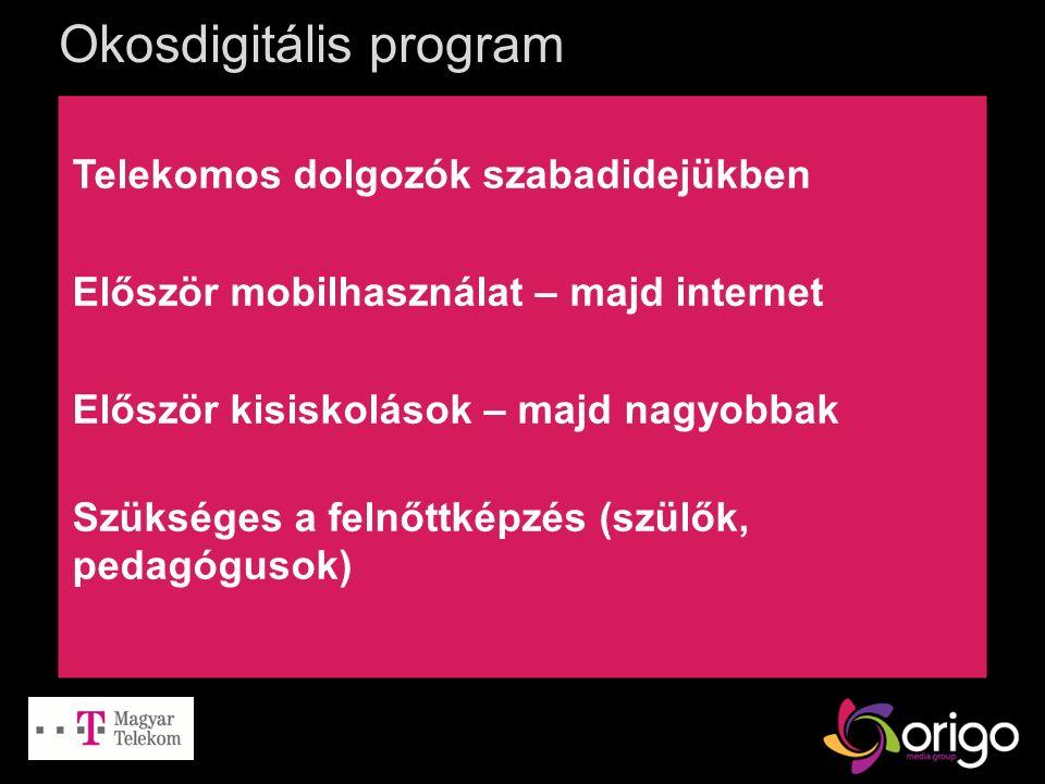 Okosdigitális program Telekomos dolgozók szabadidejükben Először mobilhasználat – majd internet Először kisiskolások – majd nagyobbak Szükséges a feln