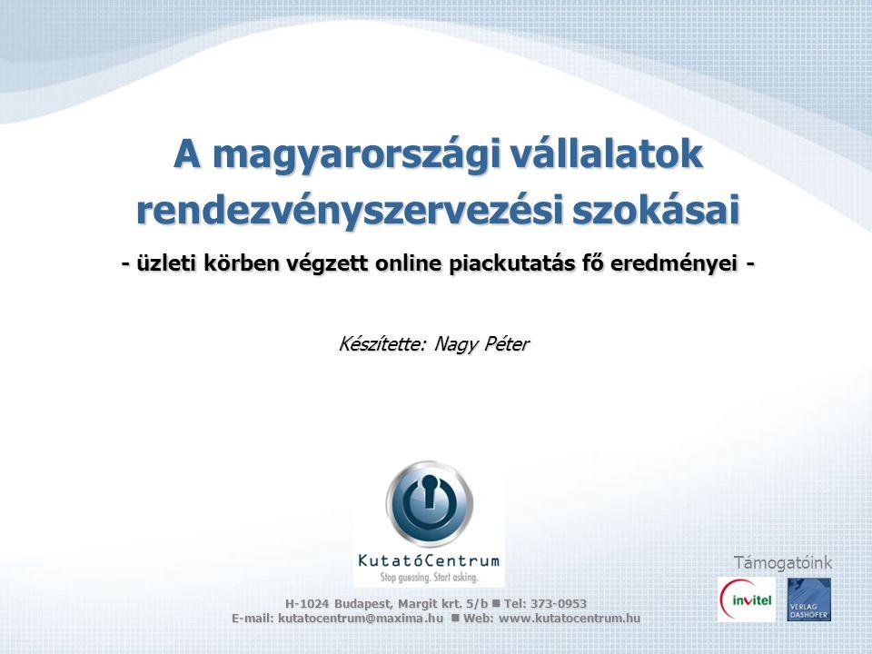 A magyarországi vállalatok rendezvényszervezési szokásai - üzleti körben végzett online piackutatás fő eredményei - Készítette: Nagy Péter Támogatóink