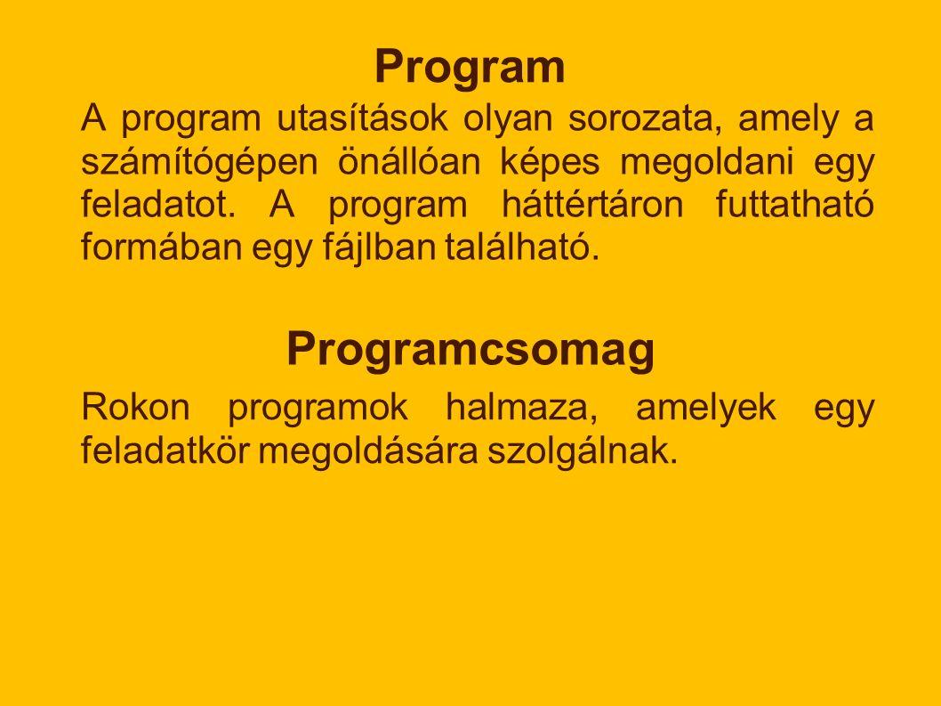 Program A program utasítások olyan sorozata, amely a számítógépen önállóan képes megoldani egy feladatot.